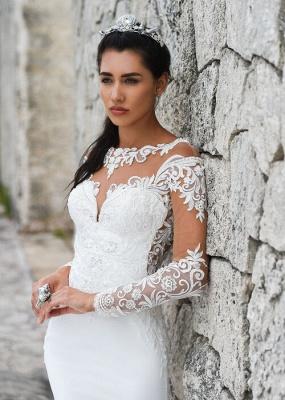 Robes de mariée sirène simples   Robes De Mariée À Manches En Dentelle en ligne_2