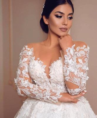 Belles robes de mariée à manches   Robe de mariée en dentelle princesse_4