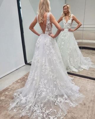 Robe de mariée élégante A ligne   Robes de mariée en dentelle décolleté en V_2