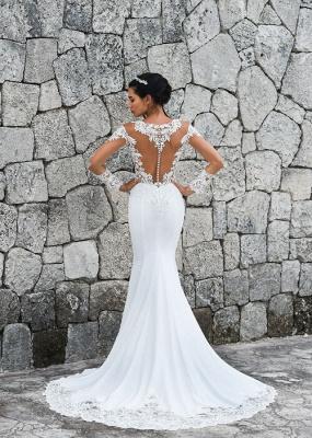 Robes de mariée sirène simples   Robes De Mariée À Manches En Dentelle en ligne_3