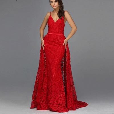 Robes de soirée élégantes longues rouges | Tenue de soirée avec dentelle_3