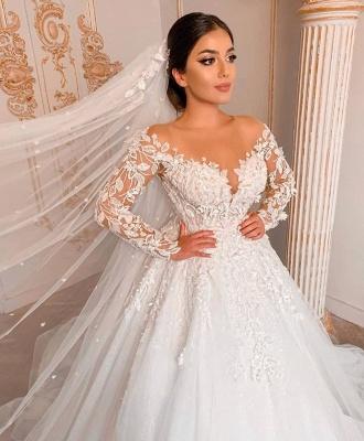 Belles robes de mariée à manches   Robe de mariée en dentelle princesse_3