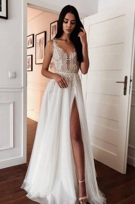 Robes de mariée modernes Une ligne | Robes de mariée décolleté en V avec dentelle