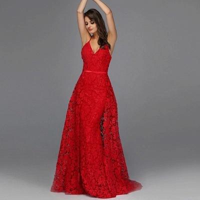 Robes de soirée élégantes longues rouges | Tenue de soirée avec dentelle_2