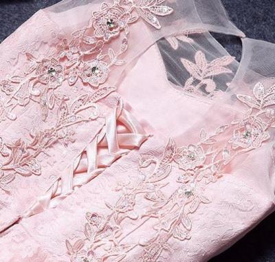Robe de soirée princesse courte dentelle chic   Robe de cocktail princesse sans manches_4