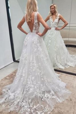 Robe de mariée élégante A ligne   Robes de mariée en dentelle décolleté en V_1