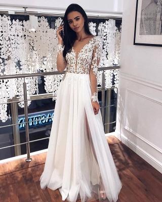 Robes de mariée simples à manches | Robe de mariée en mousseline avec dentelle_2