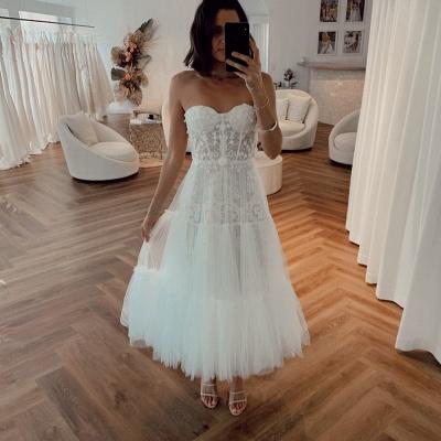 Robes de mariée élégantes courtes | Robes De Mariée Crema Pas Cher En Ligne_2