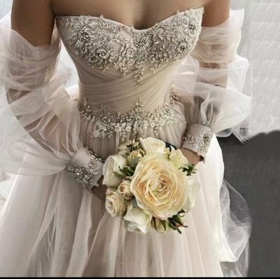 Robes de mariée simples Une ligne   Robes de mariée à manches_3
