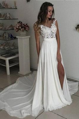 Robe de mariée simple avec dentelle | Robes de mariée d'été en mousseline de soie pas cher