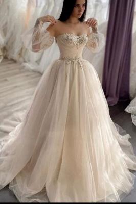 Robes de mariée simples Une ligne   Robes de mariée à manches_1