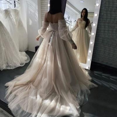 Robes de mariée simples Une ligne   Robes de mariée à manches_4