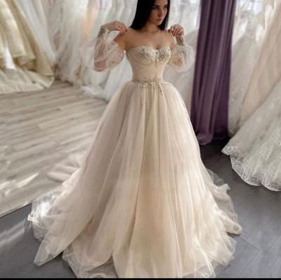 Robes de mariée simples Une ligne   Robes de mariée à manches_2
