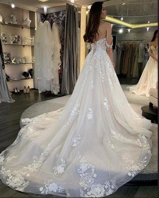 robe de mariée blanche à linie | robe de mariée en dentelle_2