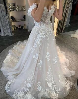 robe de mariée blanche à linie | robe de mariée en dentelle_3