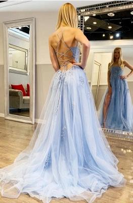 Robes de soirée bleues avec dentelle   Acheter des tenues de soirée en ligne_5