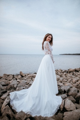 Robes de mariée de créateurs avec manches   Tenue de mariée avec dentelle_5