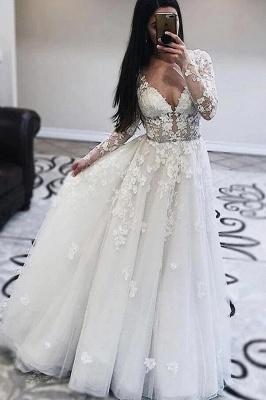 Robes de mariée décolleté en V | Robes de mariée en dentelle avec manches_1