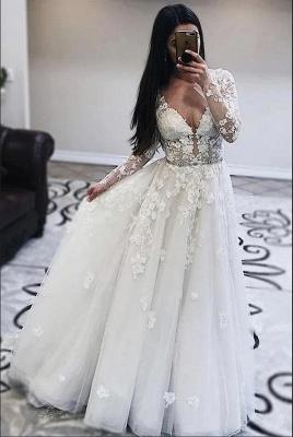 Robes de mariée décolleté en V | Robes de mariée en dentelle avec manches_2