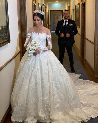 Robe de mariée extravagante à manches | Robes de mariée princesse avec dentelle_3
