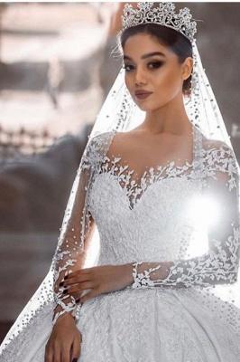 Robes de mariée extravagantes princesse | Robe de mariée avec dentelle à manches longues