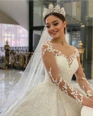 Robes de mariée extravagantes princesse | Robe de mariée avec dentelle à manches longues_4