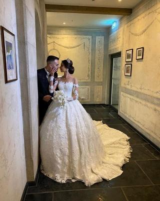 Robe de mariée extravagante à manches | Robes de mariée princesse avec dentelle_2