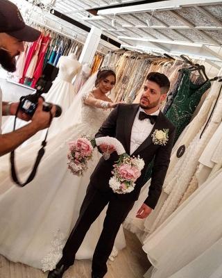 Robe de mariée de créateur à manches | Robes de mariée en dentelle Une ligne_6