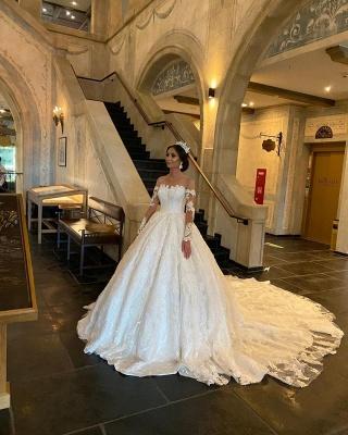 Robe de mariée extravagante à manches | Robes de mariée princesse avec dentelle_4