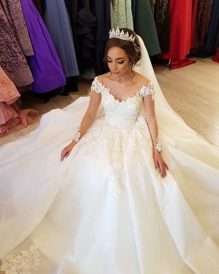 Robe de mariée de créateur à manches | Robes de mariée en dentelle Une ligne_3