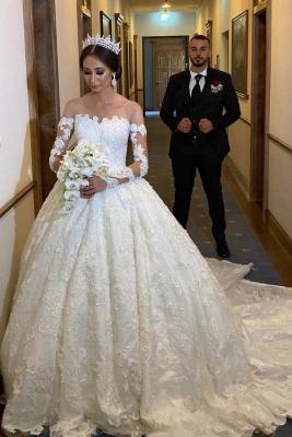 Robe de mariée extravagante à manches | Robes de mariée princesse avec dentelle