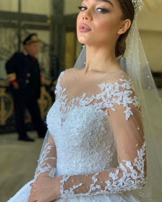 Robes de mariée extravagantes princesse | Robe de mariée avec dentelle à manches longues_3
