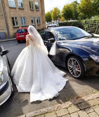 Robe de mariée de créateur à manches | Robes de mariée en dentelle Une ligne_5