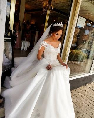 Robe de mariée de créateur à manches | Robes de mariée en dentelle Une ligne_4
