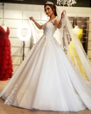 Robe de mariée de créateur à manches | Robes de mariée en dentelle Une ligne_2