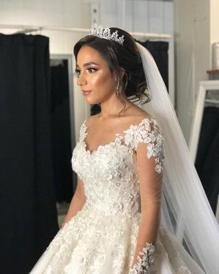 Robe de mariée de créateur à manches | Robes de mariée en dentelle Une ligne_7