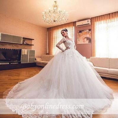 Forme Marquise Traîne cathédrale Tulle Robes de mariée 2020 avec Appliques_1