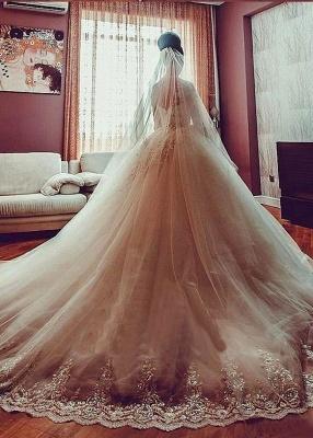 Forme Marquise Traîne cathédrale Tulle Robes de mariée 2020 avec Appliques_5