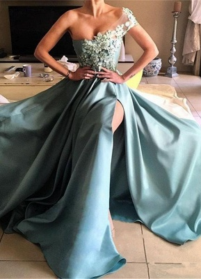 Forme Princesse Longueur ras du sol Épaule asymétrique Robes de bal 2020 avec Appliques_1
