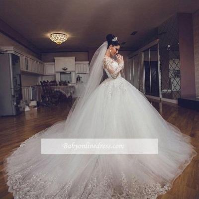 Forme Marquise Traîne cathédrale Tulle Robes de mariée 2020 avec Appliques_3