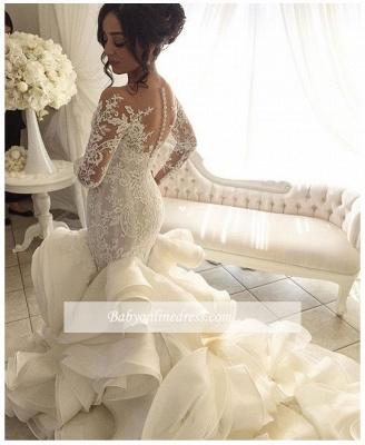 Robe de mariée sirène dentelle luxueuse | Robe de mariage trompette manches longues_2