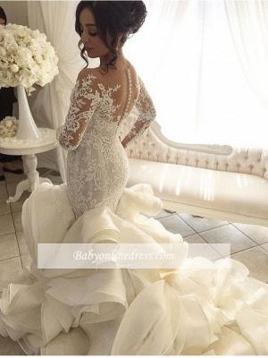 Robe de mariée sirène dentelle luxueuse | Robe de mariage trompette manches longues_3