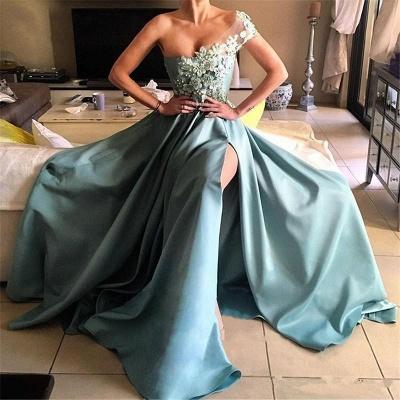 Forme Princesse Longueur ras du sol Épaule asymétrique Robes de bal 2020 avec Appliques_2