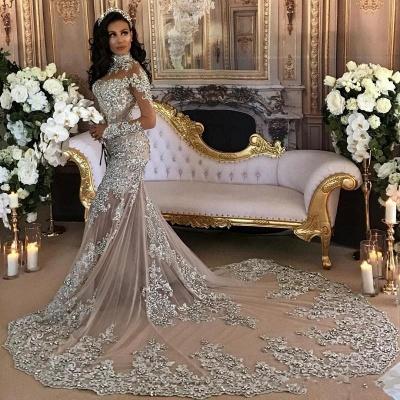 Forme Sirène/Trompette Traîne moyenne Col montant Dentelle Robes de mariée sirène avec Cristal_3