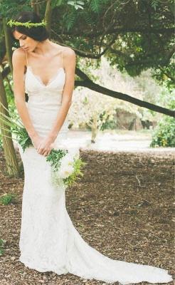 Robe de mariée sirène dentelle dos nu avec bretelles spaghetti | Robe de mariage trompette longue élégante_3