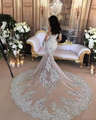 Forme Sirène/Trompette Traîne moyenne Col montant Dentelle Robes de mariée sirène avec Cristal_2