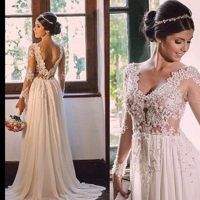 Forme Princesse alayage/Pinceau train Col en V Mousseline polyester Robes de mariée 2021 avec Dentelle_2