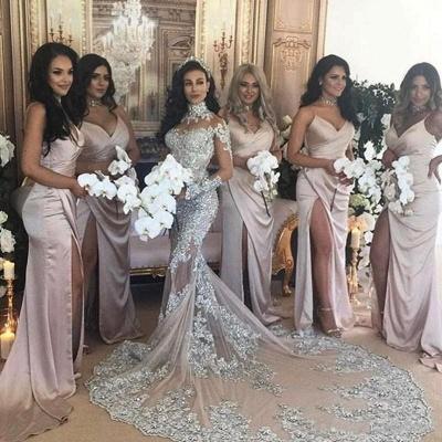 Forme Sirène/Trompette Traîne moyenne Col montant Dentelle Robes de mariée sirène avec Cristal_4