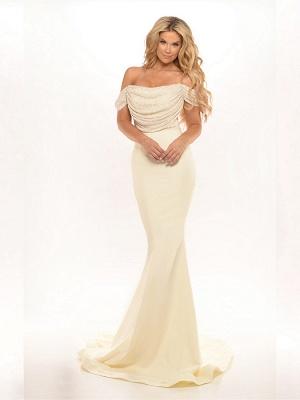 Forme sirène robe demoiselle d'honneur bretelle ruché longueur sol couleurs au choix_1
