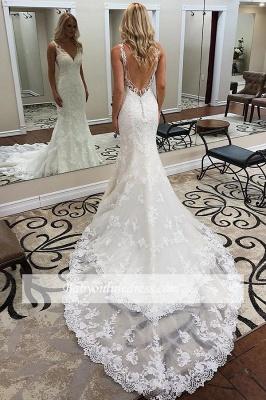robe de mariée longue sirène trompette col V dos nu en dentelle